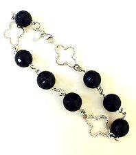 """Sterling Silver 925 Black Onyx Gemstone Lobster Lock 8"""" Women's Bracelet"""