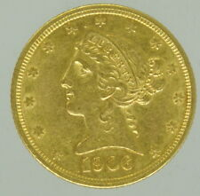 1906 United States Gold Liberty Half Eagle Five Dollar Coin $5