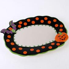 Large Céramique Halloween Chauve-souris Motif Citrouille Assiette NEUF