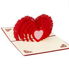 Love Heart 3D Pop Up Greeting Handmade Kirigami Card Wedding Anniversary
