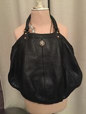 Tory Burch Black Dakota Pebbled Leather Large Hobo Tote Bag