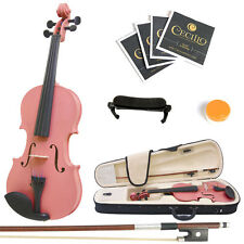Mendini Size 1/2 Solidwood Violin Metallic Pink+ShoulderRest+ExtraStrings+Case