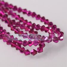 200pcs 3mm Bicone Faceted Glass Crystal Loose Spacer Beads Findings Rose Red