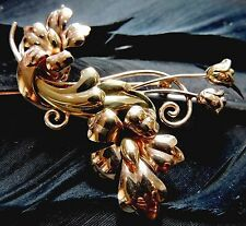 NICE VINTAGE ESTATE A&Z COMPANY YELLOW AND ROSE GOLD FILLED FLOWER FLORAL BROOCH