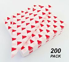 200 Pack x Patterned Red & White Paper Luncheon Serviettes / Napkins Christmas