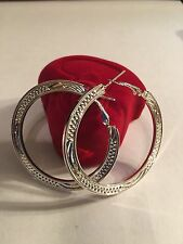 """NEW SILVER 2"""" ROUND EARRINGS --E183"""