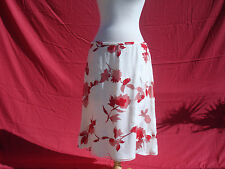NWT Escada Silk Viscose Ivory White Red Floral Women's Skirt Sz 44 Germany $1100