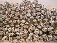 50 ANTIQUE SILVER PLATED 5mm BICONE SPACER BEADS BARS BRACELET