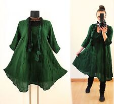 GREEN FLOATY CRINKLE TUNIC DRESS Scarf Plus Size 16 18 20 Gypsy Gothic Lagenlook