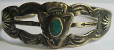 VINTAGE NAVAJO INDIAN STAMPWORK SILVER TURQUOISE APPLIED ARROWHEAD CUFF BRACELET