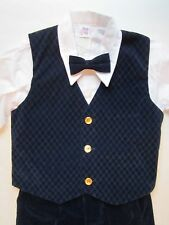 NWOT Boy's 4pc Suit [ 6 ] Shirt-BowTie-Vest-Pants Childs NavyBlue Church Outfit