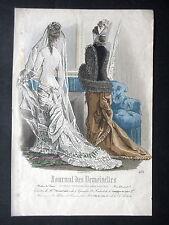 GRAVURE MODE 19e - JOURNAL DES DEMOISELLES - TOILETTE DE MARIEE - BREANT-CASTEL