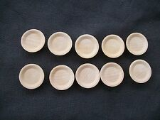 "LOT 10 DOLLHOUSE CRAFTS MINIATURE UNFINISHED WOOD PLATES DISH  3/4"" DIAMETER"
