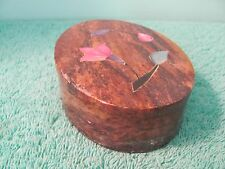 Hand Carved Stone Oval Trinket Box, Lid w Mother of Pearl Inlay, India