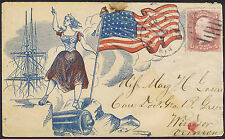 1861 c. Figure with Flag and Ship US Civil War Patriotic Cover