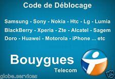 Code de Déblocage Désimlockage BOUYGUES ( Samsung Nokia Sony Htc Lg Zte ...etc )