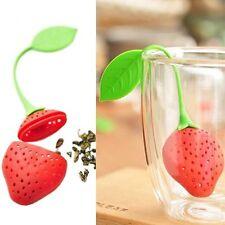 2 pz Silicone Fragole Forma Bustina di tè Filtri Infusore Diffusore Colino
