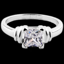 18K White Gold Filled Crystal CZ Cushion Eternity Engagement Ring Size S/9. 1104