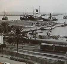 Harbor of Algiers, Algeria, w/ rare Narration Card,Magic Lantern Glass Slide