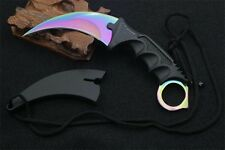 TACTICAL COMBAT KARAMBIT KNIFE Survival And Hunting Fixed Blade RAINBOW