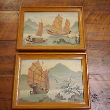 Pair Vintage 40s Asian Chinese Junk Boats River Paint By Numbers PBN Painting