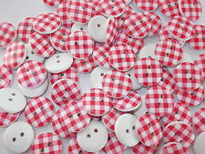 40 x RED/WHITE GINGHAM 2 HOLE WOODEN 15mm BUTTONS, SCRAPBOOKING, CRAFT ETC.,