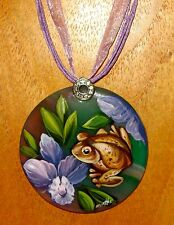 Russian UNIQUE hand painted GREEN FROG Natural Stone pendant SMIRNOVA signed ART