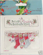 Papermania En Navidad set sello goma transparente de 2 medias esferas Holly