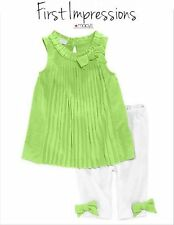 NWT SZ 0/3 MONTHS GIRL FIRST IMPRESSION 2 PC OUTFIT SET TOP LEGGINGS GREEN WHITE