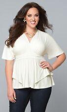 Kiyonna Plus Size Top 5X White Promenade Style Kimono Sleeves