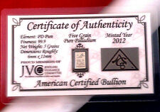 ACB Palladium 5GRAIN BULLION MINTED BAR 999 Pure Certificate Authenticity!