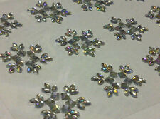 12 x 25mm Stick on Self Adhesive SNOWFLAKE Flower Diamante Gems Wedding CRAFTS