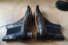 TODS Black Studded Leather Booties Ankle Boots 37