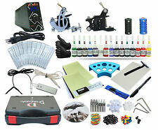 Complete Tattoo Kit 2 Machine Set Equipment Power Supply 15 Color Inks TKP-D2-5