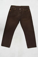 LEVIS 501 VINTAGE DARK BROWN DENIM JEANS STRAIGHT LEG RED TAB W36 L28 SPAIN LOOK