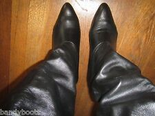 Joyce California black leather high heel knee boots 10½ 10.5 B VTG 80's pull on