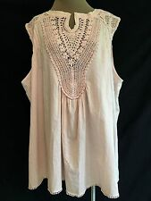 ROAMAN'S MADE IN INDIA 28w  4X PLUS PALE PINK CROCHET TANK 100% COTTON  NEW