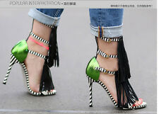 Womens Tassel Ankle Strap High Heels Strappy Stiletto Sandals Peep Toe Shoes SZ