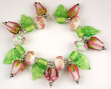 19 PCS Lampwork Glass Beads Handmade Pink Roses Leaf Loose Jewelry Craft Spacer