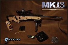"ZY TOYS 1/6 Scale US MK13 Sniper Rifle Coyote Brown Fit for 12"" action figure"