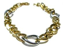 BIG LOOK 18K GOLD 750 YELLOW & WHITE GOLD HOLLOW CABLE LINK CHAIN BRACELET 7.5""