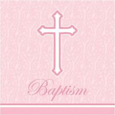 Faith Pink Cross Religious Christian Party Paper Luncheon Napkins - Baptism