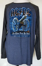 """AC/DC Cannon Blue/Gray L/S T-Shirt """"For Those About To Rock We Salute You"""" XXL"""