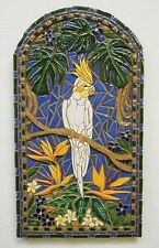 COCKATIEL PARROT Mosaic Handmade Ceramic Tile Original Bird Art Wall Decor 10x19