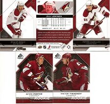 2008-09 UD Upper Deck SP Game Used Phoenix Coyotes Team Set w/ RC's (5)