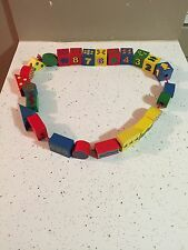 Stringing Beads Numbers Colors Shapes 25 Pieces Cubes Wooden Toy Blocks