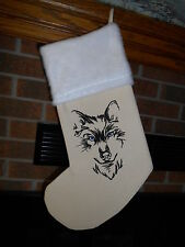 HANDMADE EMBROIDERED CHRISTMAS STOCKING- Wolf Head Outline, Wolve *FREE SHIP