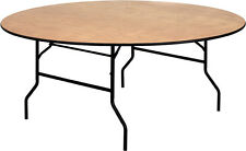 "Lot of 10 72"" Round Wood Folding Banquet Table Country Club Hotel Restaurant"