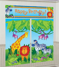 JUNGLE ANIMALS Scene Setter HAPPY BIRTHDAY party wall decoration kit over 6' zoo