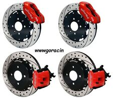"Wilwood Disc Brake Kit,Honda Civic,Acura Integra 12"" Drilled Rotors Red Calipers"